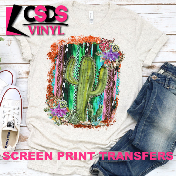 Screen Print Transfer - Serape Cactus and Succulents - Full Color