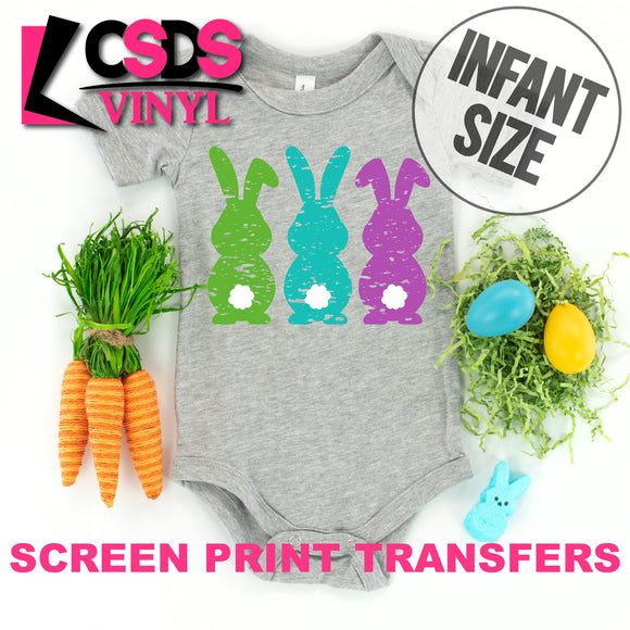Screen Print Transfer - Green Blue Purple Bunnies INFANT - Full Color