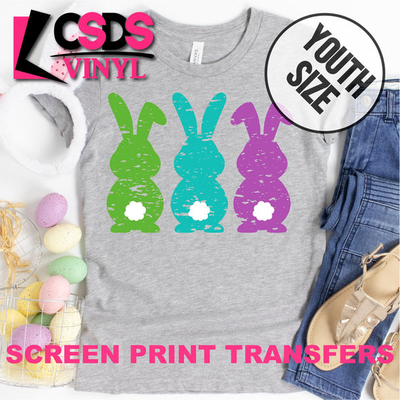 Screen Print Transfer - Green Blue Purple Bunnies YOUTH - Full Color