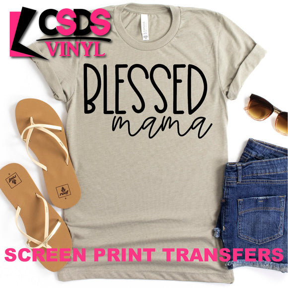 Screen Print Transfer - Blessed Mama 2 - Black