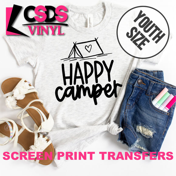 Screen Print Transfer - Happy Camper YOUTH - Black