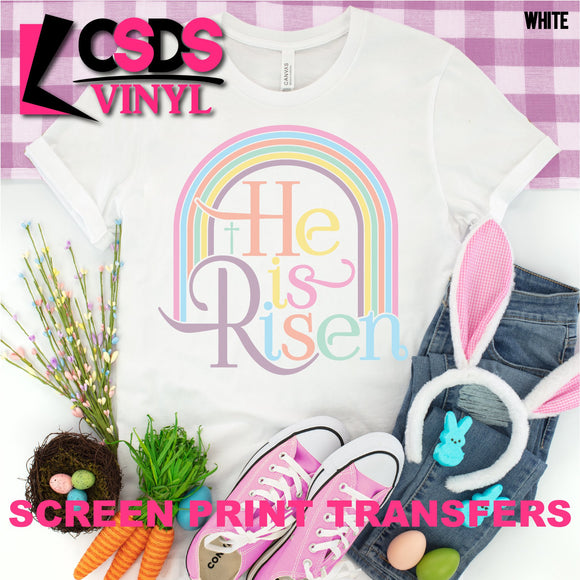 Screen Print Transfer - He Is Risen Rainbow - Full Color