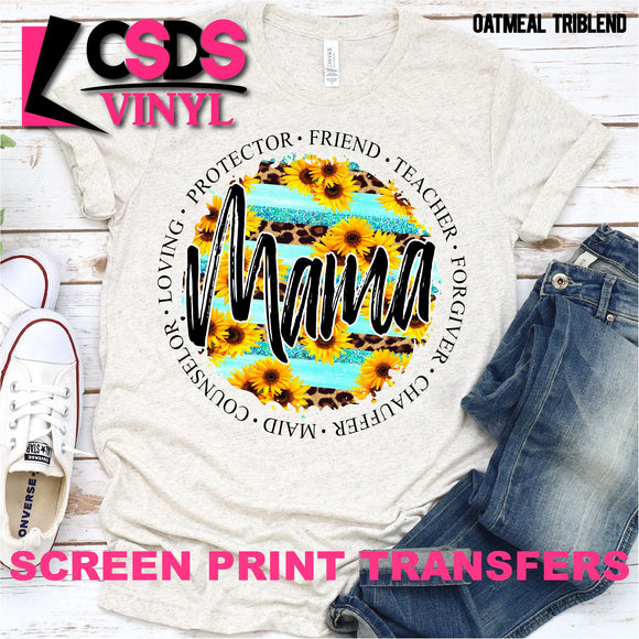 Screen Print Transfer - Mama Leopard & Sunflowers - Full Color