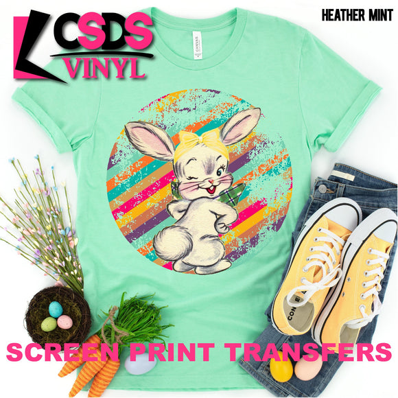 Screen Print Transfer - Retro Vintage Easter Bunny - Full Color