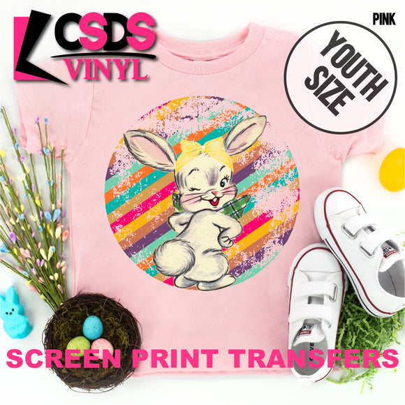 Screen Print Transfer - Retro Vintage Easter Bunny YOUTH - Full Color