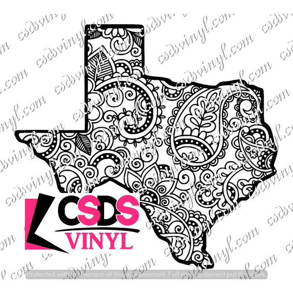 SVG0096 - Paisley Texas - SVG Cut File