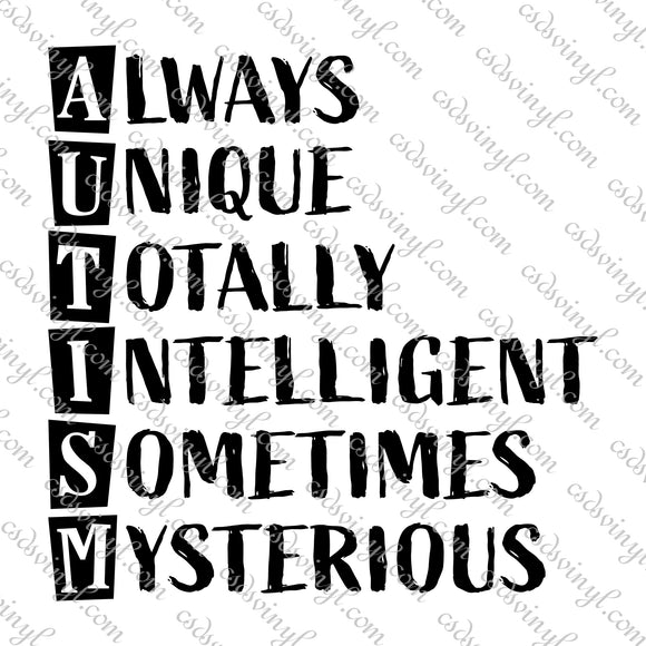 SVG0110 - Autism Always Unique Totally Intelligent Sometimes Mysterious - SVG Cut File