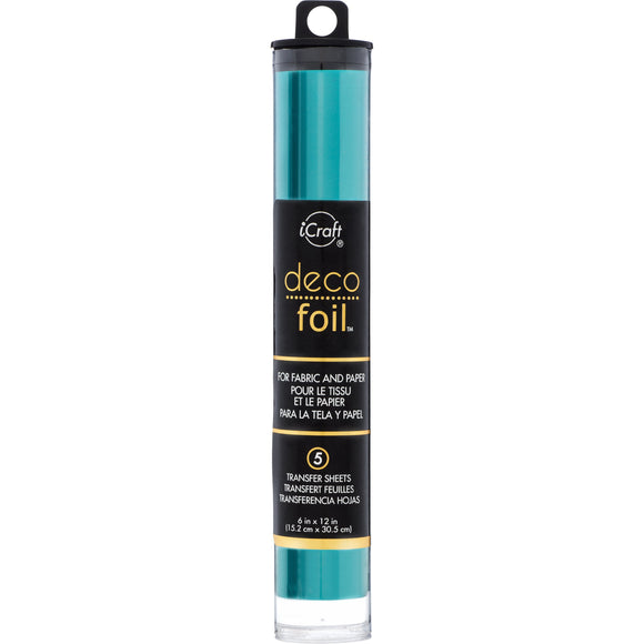 iCraft Deco Foil 5 Sheet Tube - Turquoise Satin