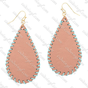 Monogram Ready Earrings - Leather Teardrop - Blush with Light Blue Stitching