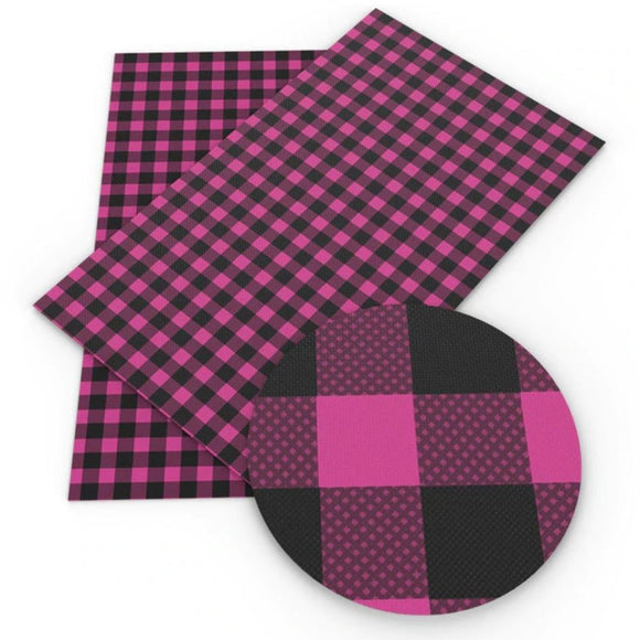 Fabric Sheet Bag Making Faux Leather Pink Buffalo Plaid Bow Supplies Printed Leather Sheet Printed Vinyl Synthetic Leather