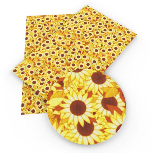 Faux Leather Canvas Sheet - Small Sunflowers
