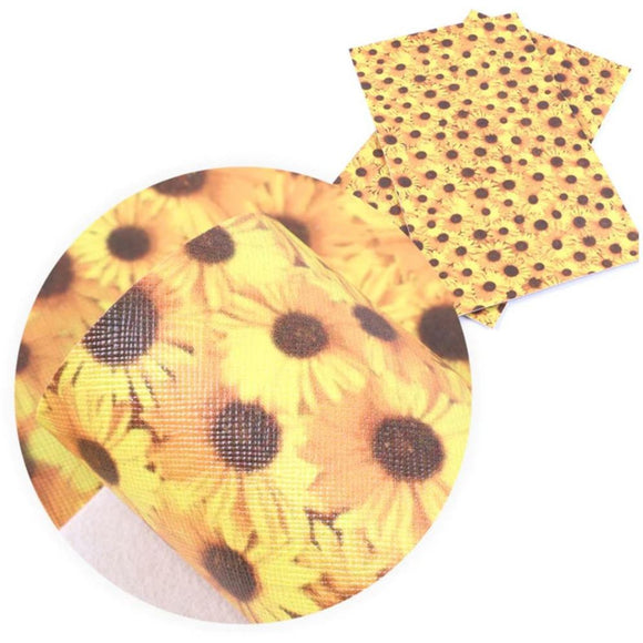 Faux Leather Canvas Sheet - Sunflowers