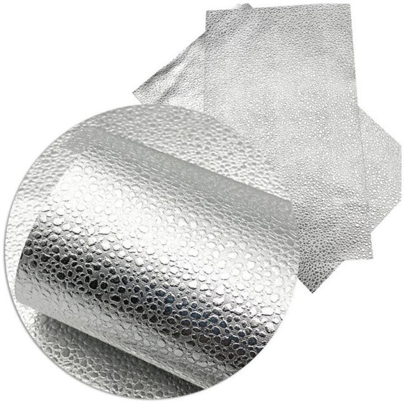 Faux Leather Canvas Sheet - Silver Dragon Egg