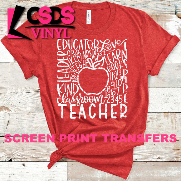 Screen Print Transfer - Teacher Apple Typography - White