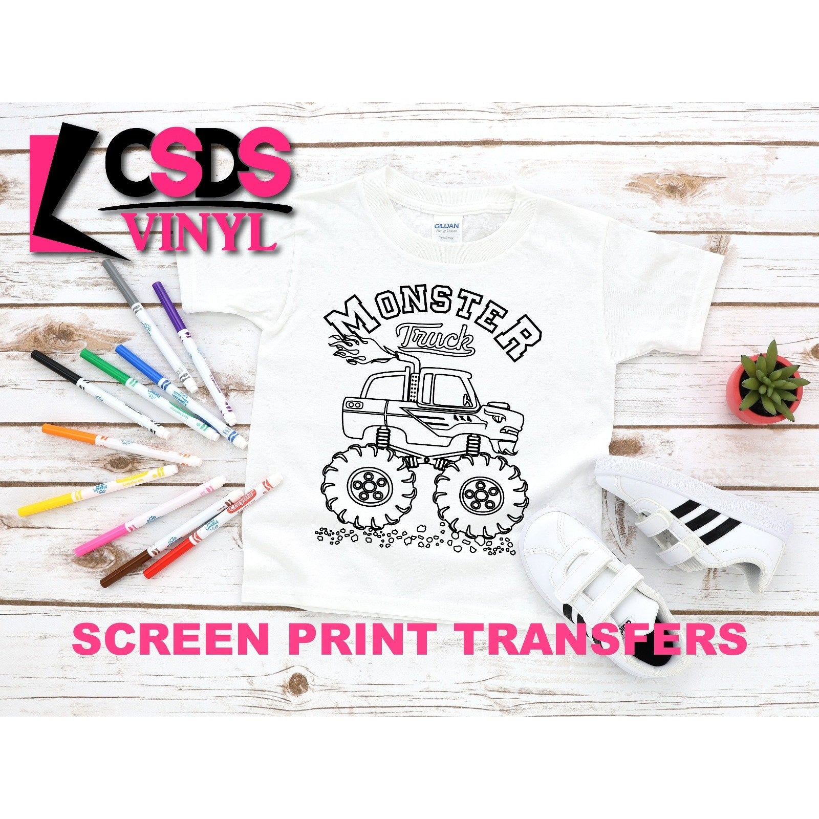 Screen Print Transfer   Monster Truck Coloring Page   Black
