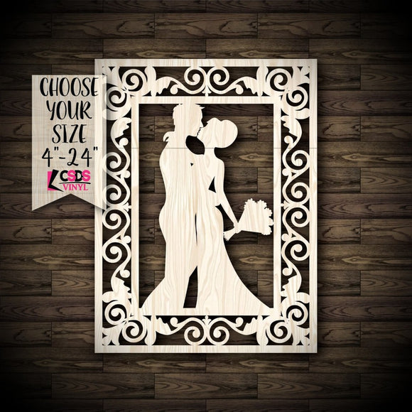 Bride and Groom with Frame