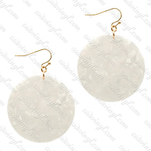 Monogram Ready Earrings - Acrylic Round - White Confetti