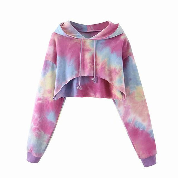 Basics Multi / S Tie Dye Crop Hoodie shop high quality cheap leggings