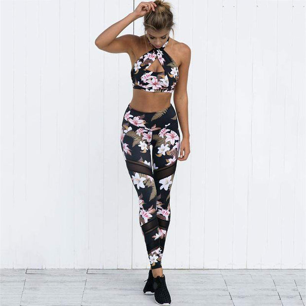 Floral Set - Moderne Women - FITNESS WEAR Best Deals Cheap High Quality Leggings Tops Fitness Gymwear Makeup Cosmetics At Home Workout Gear Paint By Numbers