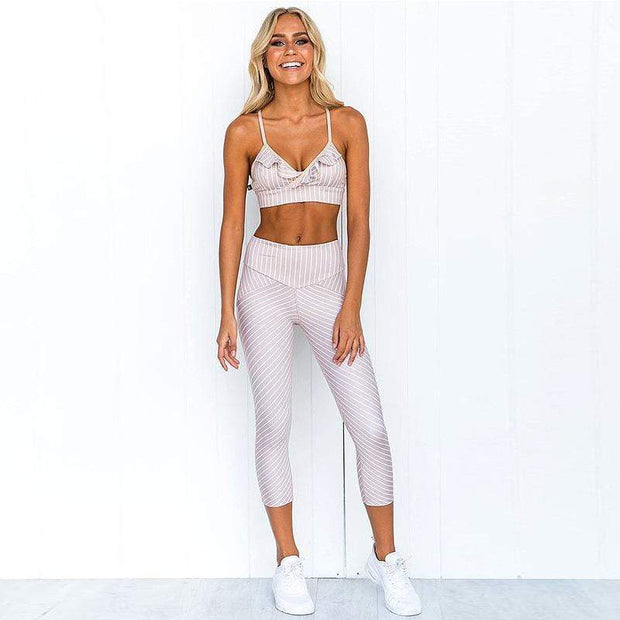 Striped Lace Fitness Suit - Moderne Women - FITNESS WEAR Best Deals Cheap High Quality Leggings Tops Fitness Gymwear Makeup Cosmetics At Home Workout Gear Paint By Numbers