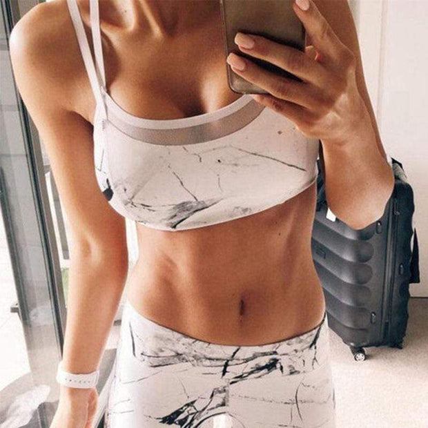 White Marble Set - Moderne Women - FITNESS WEAR Best Deals Cheap High Quality Leggings Tops Fitness Gymwear Makeup Cosmetics At Home Workout Gear Paint By Numbers