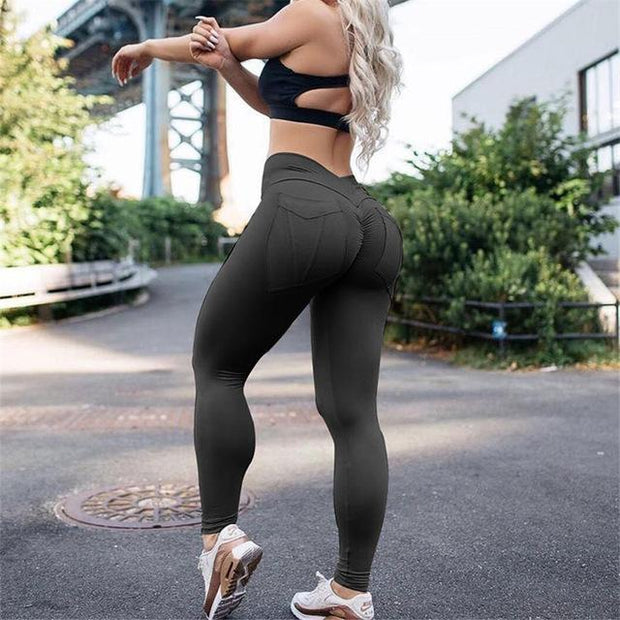 FITNESS WEAR XS / Black Solid Pocket Push Up Leggings shop high quality cheap leggings