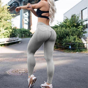FITNESS WEAR XS / Grey Solid Pocket Push Up Leggings shop high quality cheap leggings