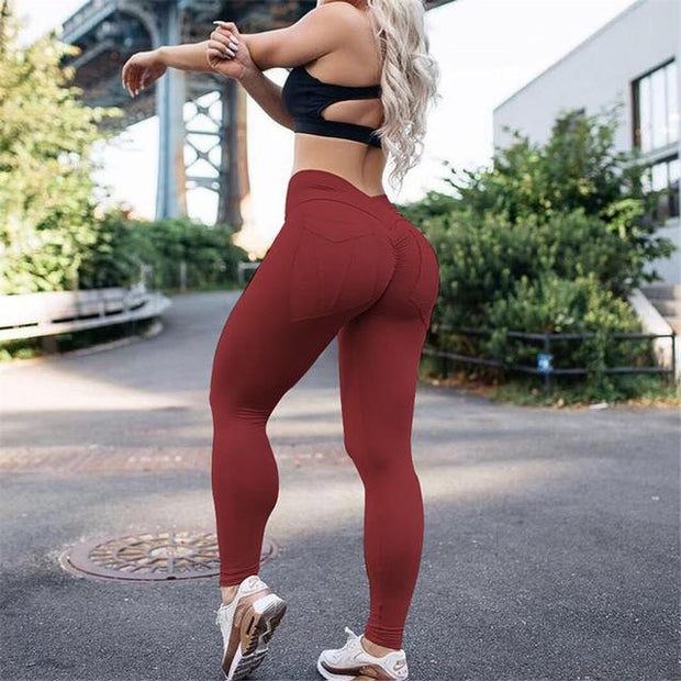 FITNESS WEAR XS / Red Solid Pocket Push Up Leggings shop high quality cheap leggings