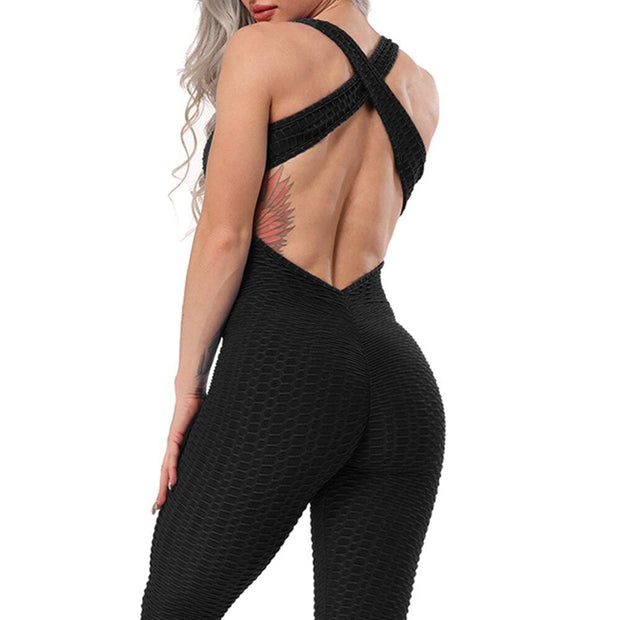 Jumpsuit S / Black Cross Back Booty Lifting x Anti-Cellulite Jumpsuit shop high quality cheap leggings