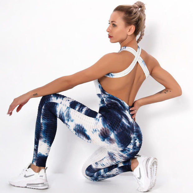 Jumpsuit S / Blue/White Seamless Tie-Die Jumpsuit shop high quality cheap leggings