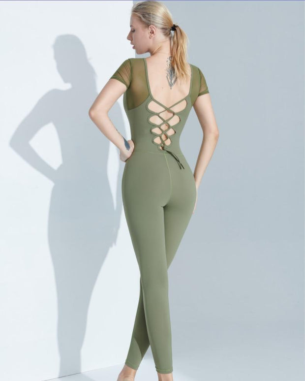 Jumpsuit S / Green Luxe Cross Back Mesh Jumpsuit shop high quality cheap leggings