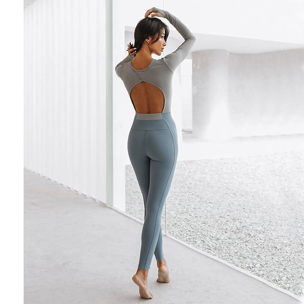 Jumpsuit S / Grey/Blue Luxe Full Sleeves Two Tone Jumpsuit shop high quality cheap leggings
