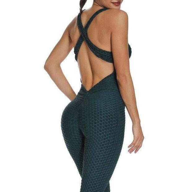 Jumpsuit S / Military Green Cross Back Booty Lifting x Anti-Cellulite Jumpsuit shop high quality cheap leggings