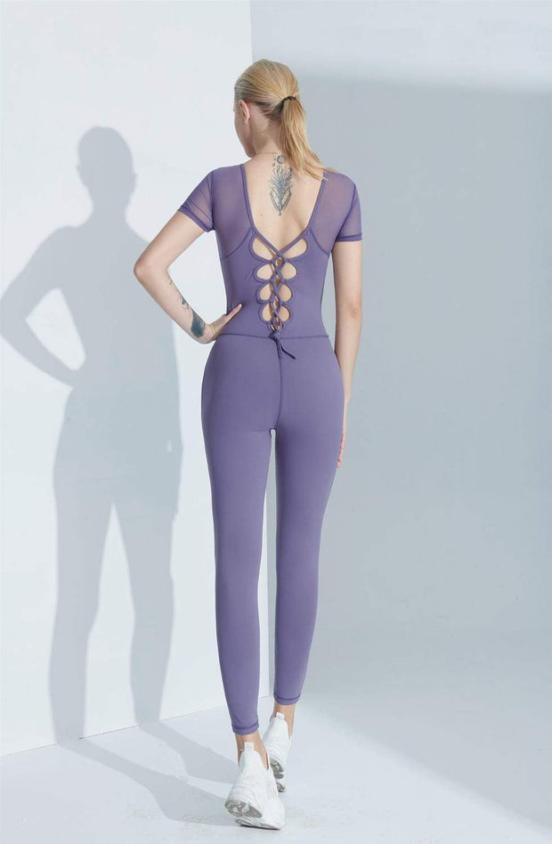 Jumpsuit S / Purple Luxe Cross Back Mesh Jumpsuit shop high quality cheap leggings