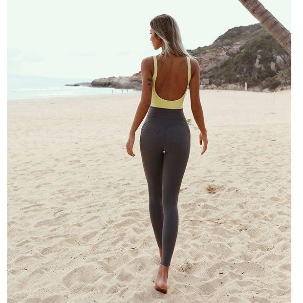 Jumpsuit S / Yellow/Green Seamless Two Tone Jumpsuit shop high quality cheap leggings