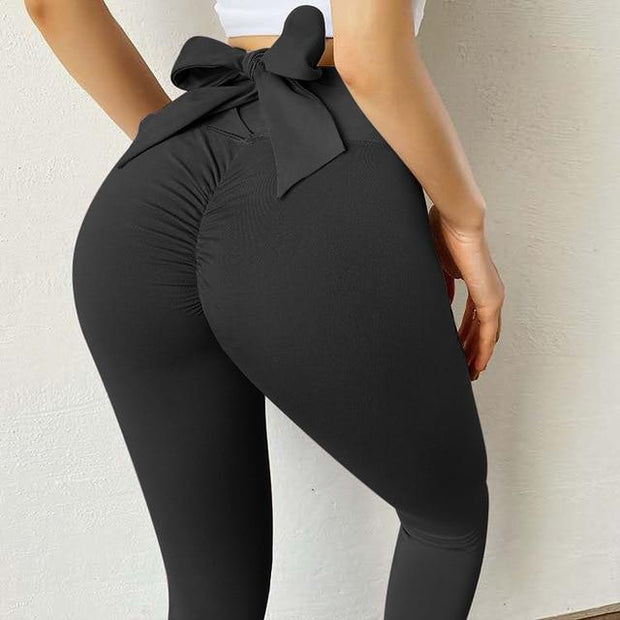 Leggings S / Black Moderne Scrunch Bow Leggings shop high quality cheap leggings