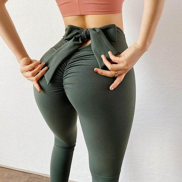 Leggings S / Dark Green Moderne Scrunch Bow Leggings shop high quality cheap leggings