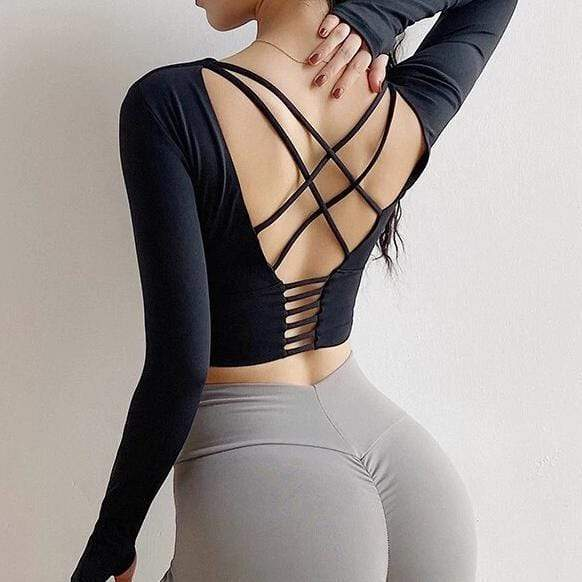 Tops S / Black Moderne Sculpt Sleeved Crop shop high quality cheap leggings