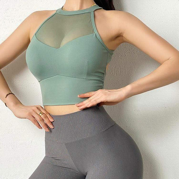 Tops S / Jade Green Moderne Mesh Sports Crop shop high quality cheap leggings