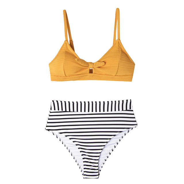 Knotted Yellow Bikini with Striped