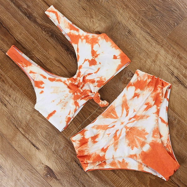 Tie Dye swimsuit bikini bandage push up