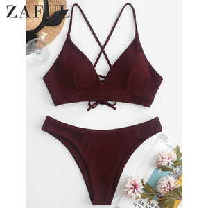 Velvet Ribbed Cami Bikini Set Lace Up Spaghetti Straps