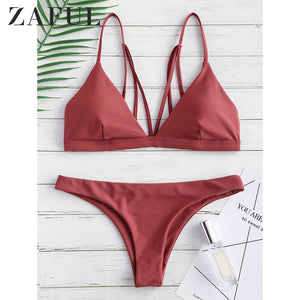 Bikini Back Strappy Padded Bathing Suit