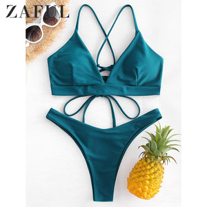 Back Lace-up Thong Bikini Criss-Cross Swimwear