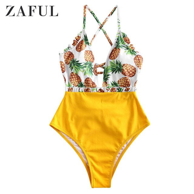 Frilled Pineapple Print One-Piece