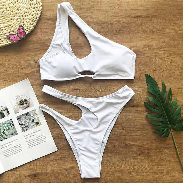 Sexy One Shoulder Bikini Female Swimsuit