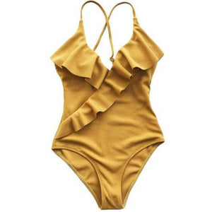 One-Piece Swimsuit Yellow V Neck