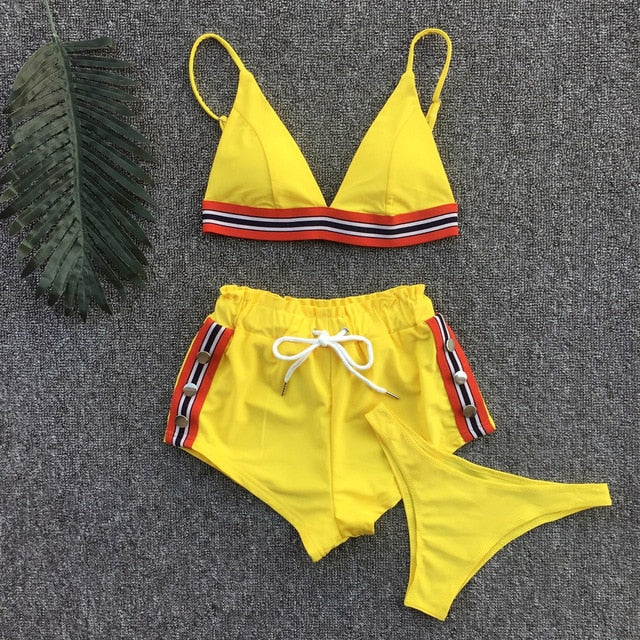 Sport Short Three-piece Swimsuit Female Thong Bathing