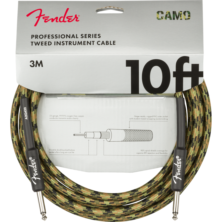 Fender Professional Series Cable, Camo 10ft