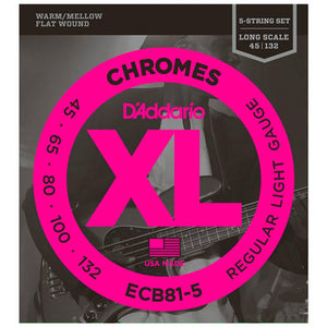Strings - D'Addario ECB Chromes Flat Wound 5 String